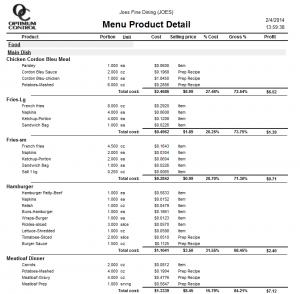 Menu Product Detail