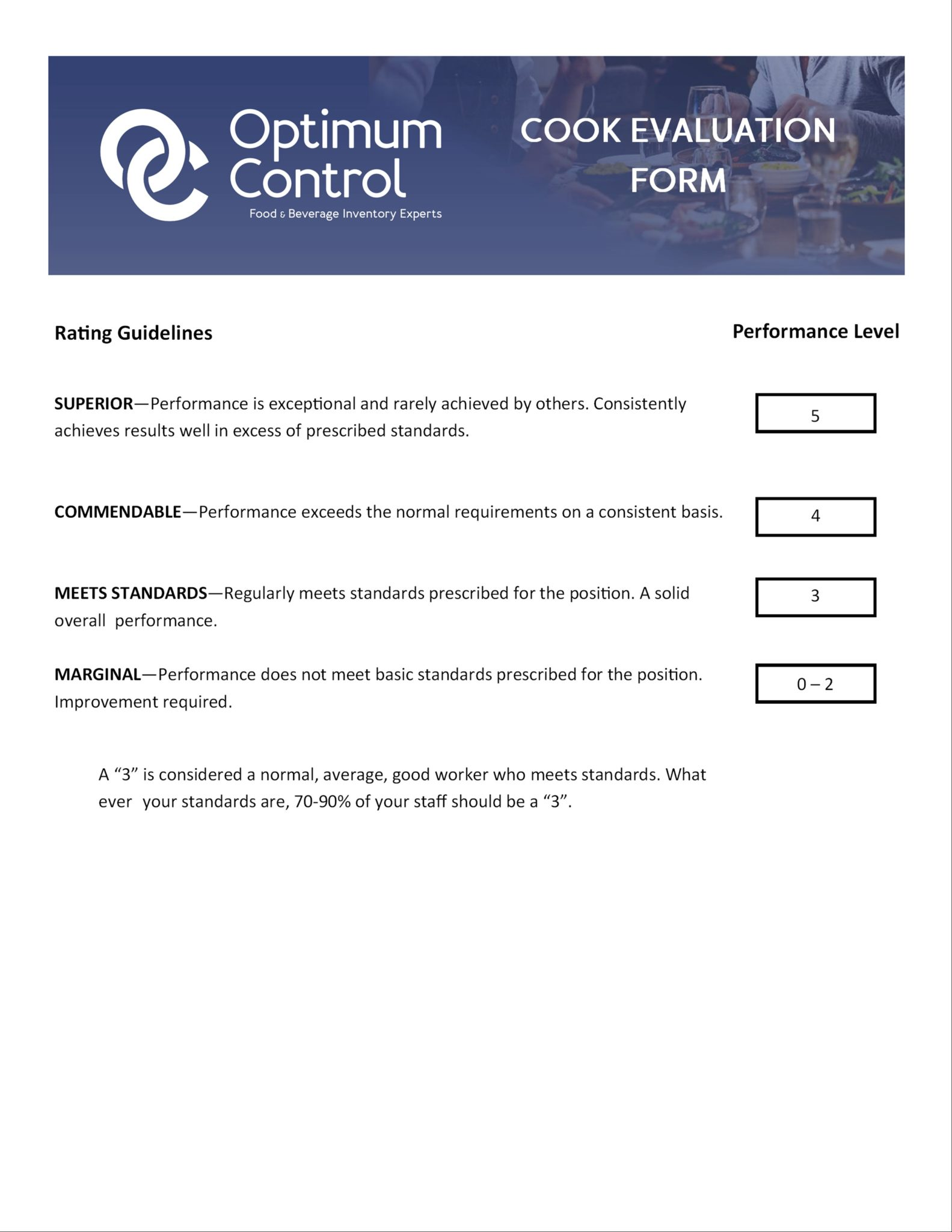 Cook Evaluation Form